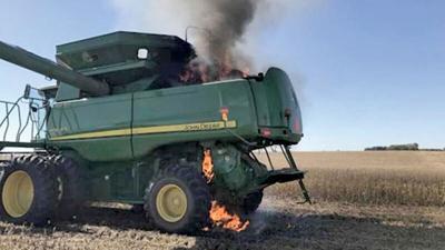 Combine in field fire