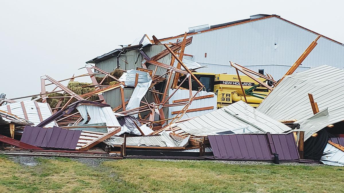Buildings and grain bins were destroyed