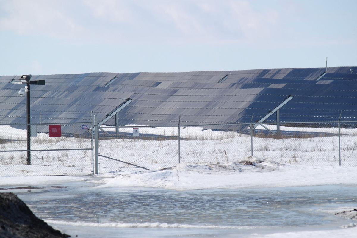 Solar panels in snow in Clara City, Minnesota