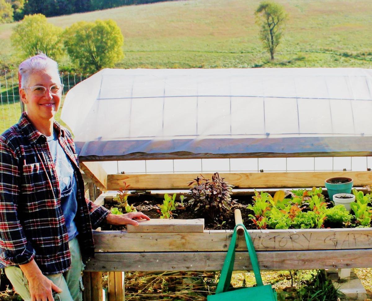 Lori Stern with raised garden