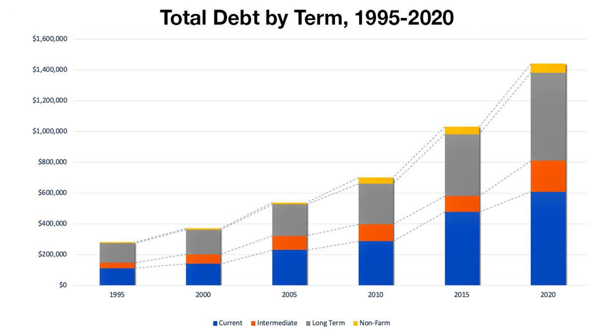 Total Debt by Term, 1995-2020