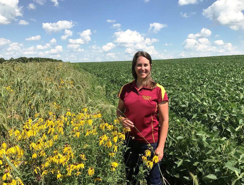 Lisa Schulte-Moore with prairie strip