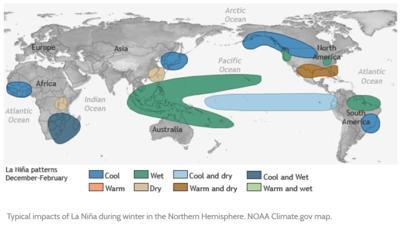 La Nina impacts map