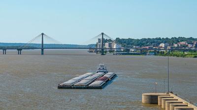 Barge at locks Alton Illinois USDA photo