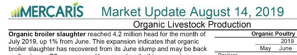 Mercaris organic-markets update as of Aug. 14, 2019, part 2