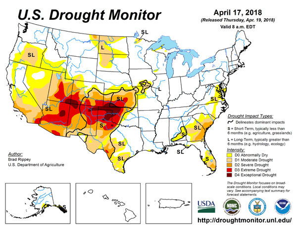 Us Drought Monitor Map 41718 State Regional Agupdatecom - Drought-map-us