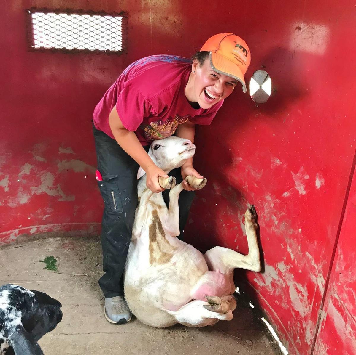 Heidi Eger with goat