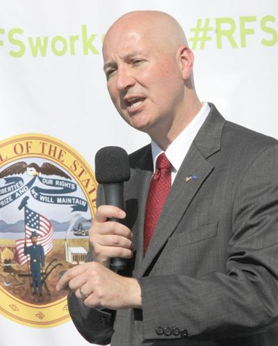 Governor Pete Ricketts urged those attending Friday's rally to contact the EPA. Mark Jackson/Burt County Plaindealer
