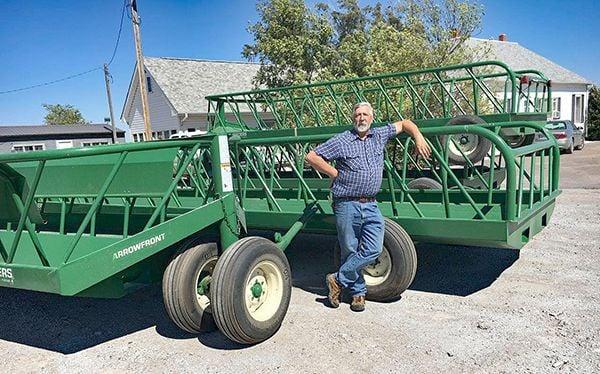 Swihart with feeder wagon