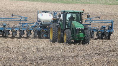 Joe Gross prepares to move his planter