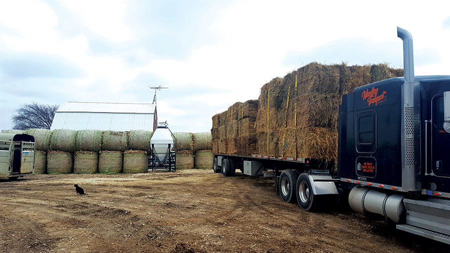 Jordan LeClere and Josh Wendling load of hay and supplies