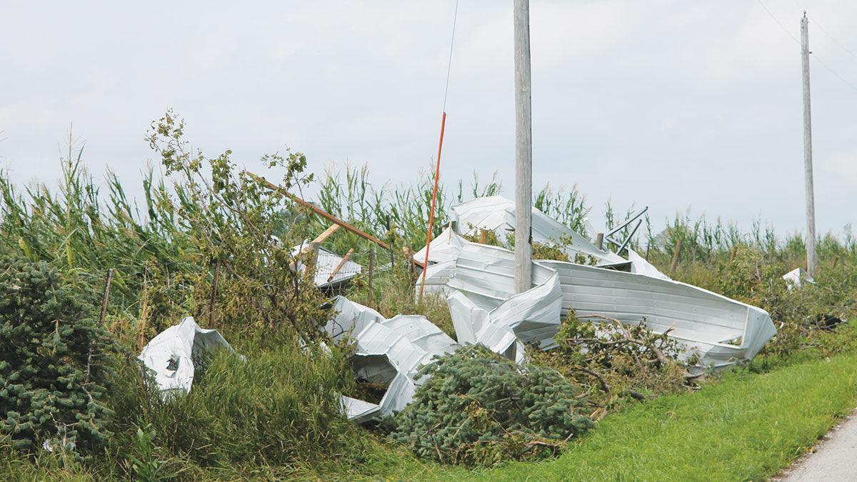 Debris sits in a wind-flattened cornfield