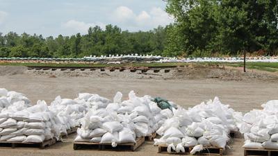 Sandbags line the Missouri River