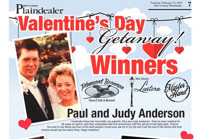 Plaindealer Valentine's Day Getaway winners