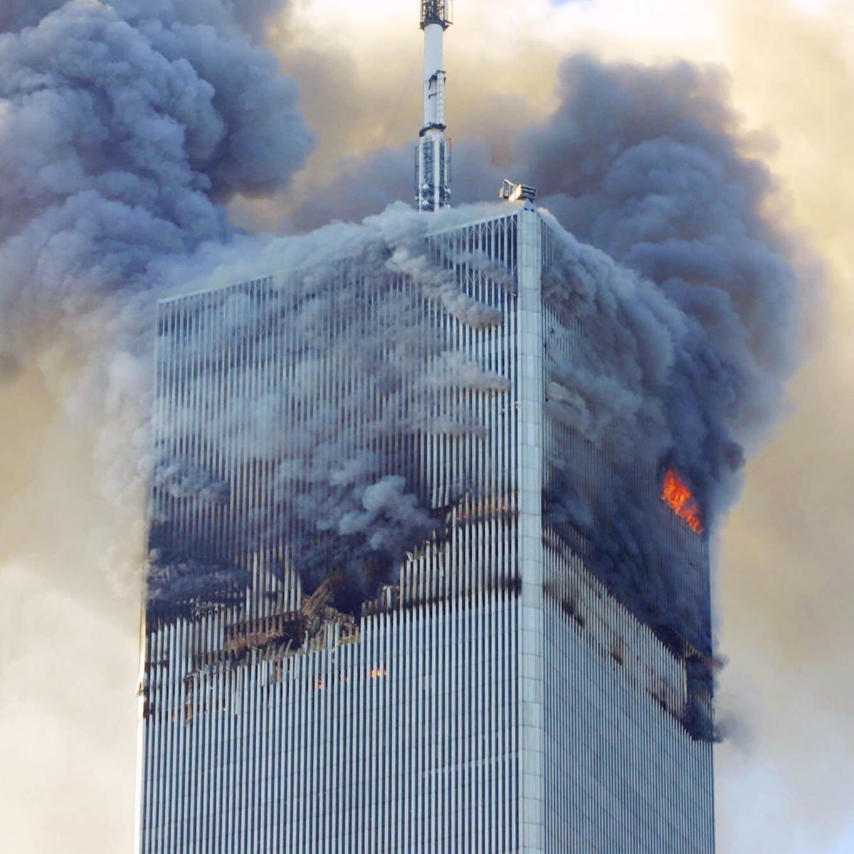 Twin Tower burns
