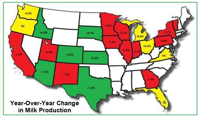 Year Over Year Change in Milk Production