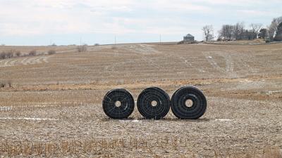 Roll of tile in field
