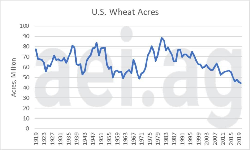 Figure 1. U.S. Wheat Acres, 1919- 2020. Data Source: USDA National Agricultural Statistics Service
