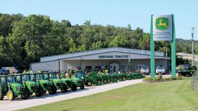 Tractors lined up outside a dealership in Jefferson City