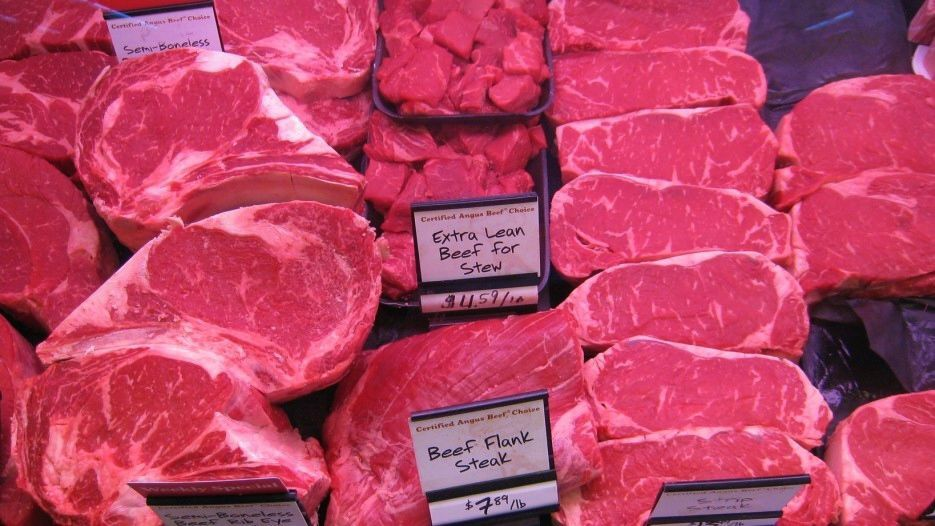 Beef in meat case in grocery