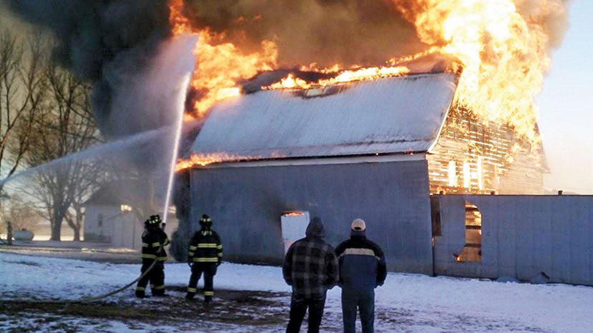 Farm building fire