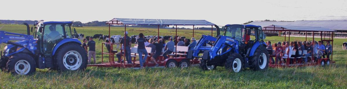 Group tours in farm wagons