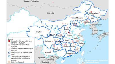 African Swine Fever map