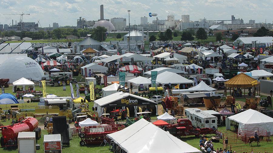 exhibitors and equipment at the Farm Progress Show