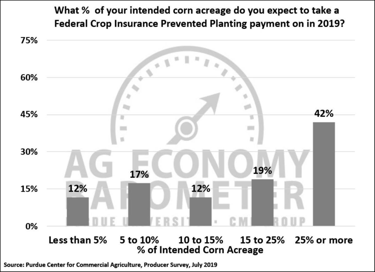 Figure 3. Percentage of Your Corn Acreage You Expect to Take a Federal Crop Insurance Prevented Planting Payment on in 2019, July 2019