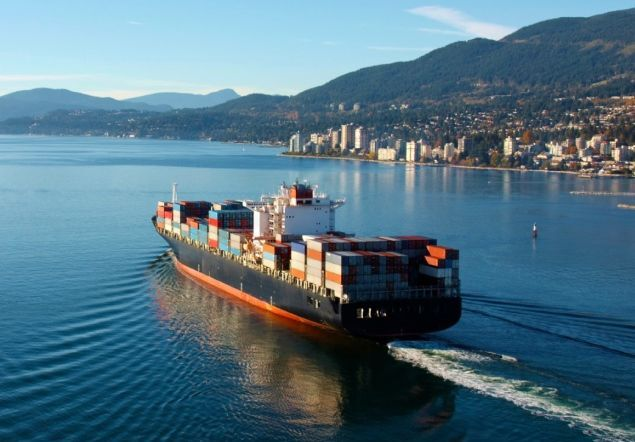 Ship leaves port with exports