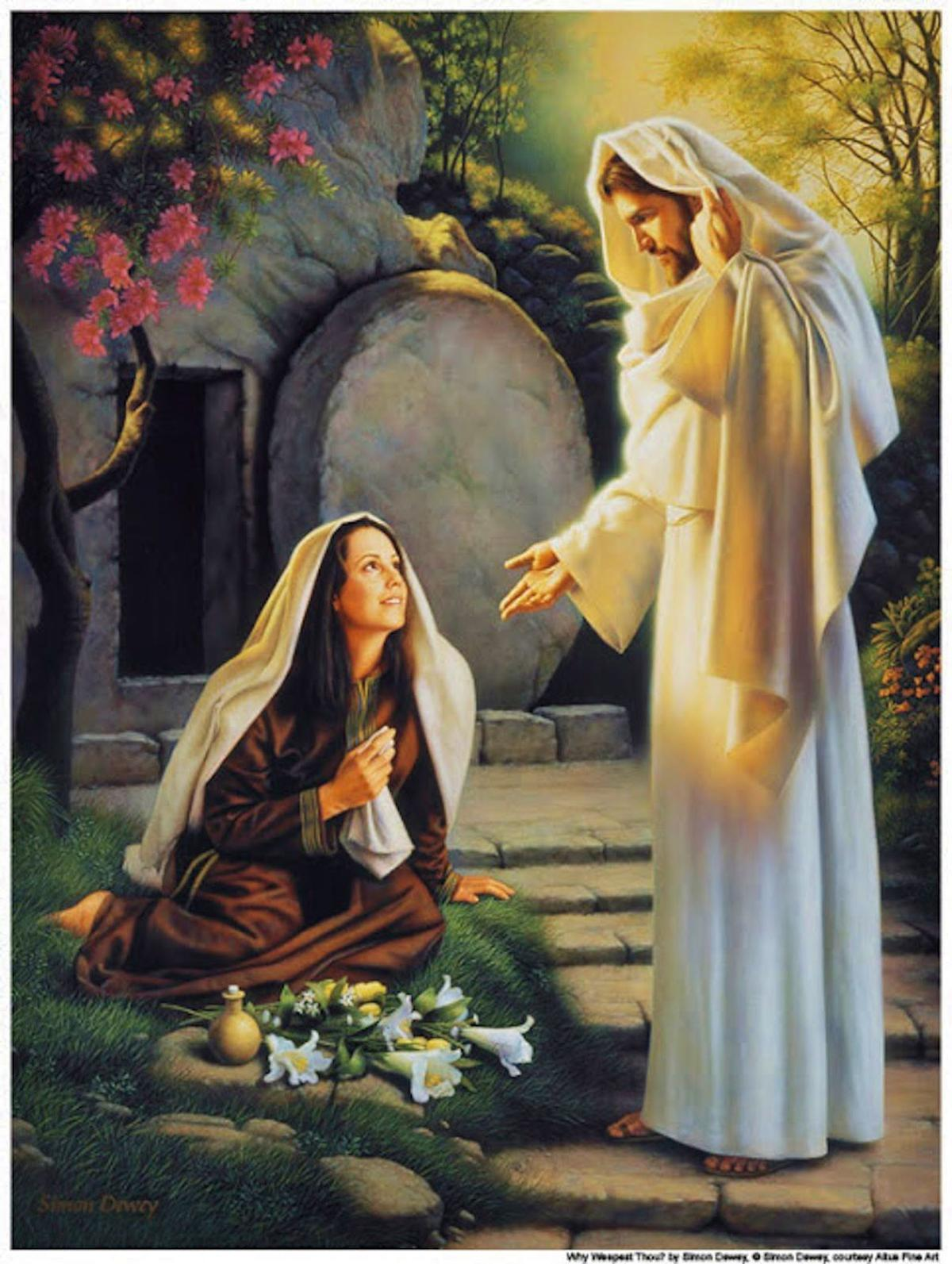 Jesus approaches Mary at the tomb