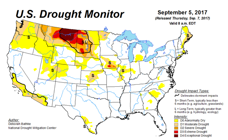 Weekly Weather Update Floods Droughts Fires Weather - Us drought map weather com