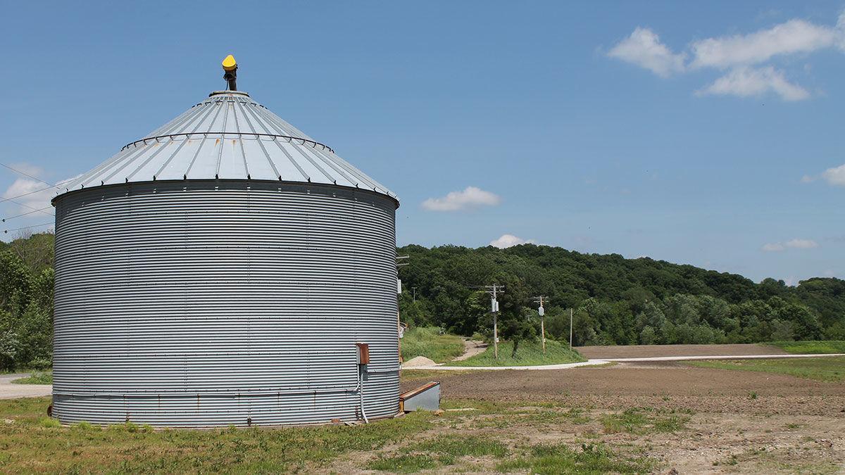 grain bin sits on the Missouri River bottom