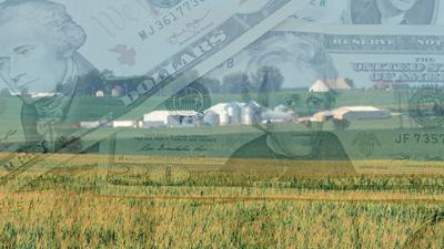 Farm scene with ghosted money