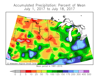 July Precipitation, percent of mean July 1-18
