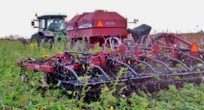 Rye seeded into field