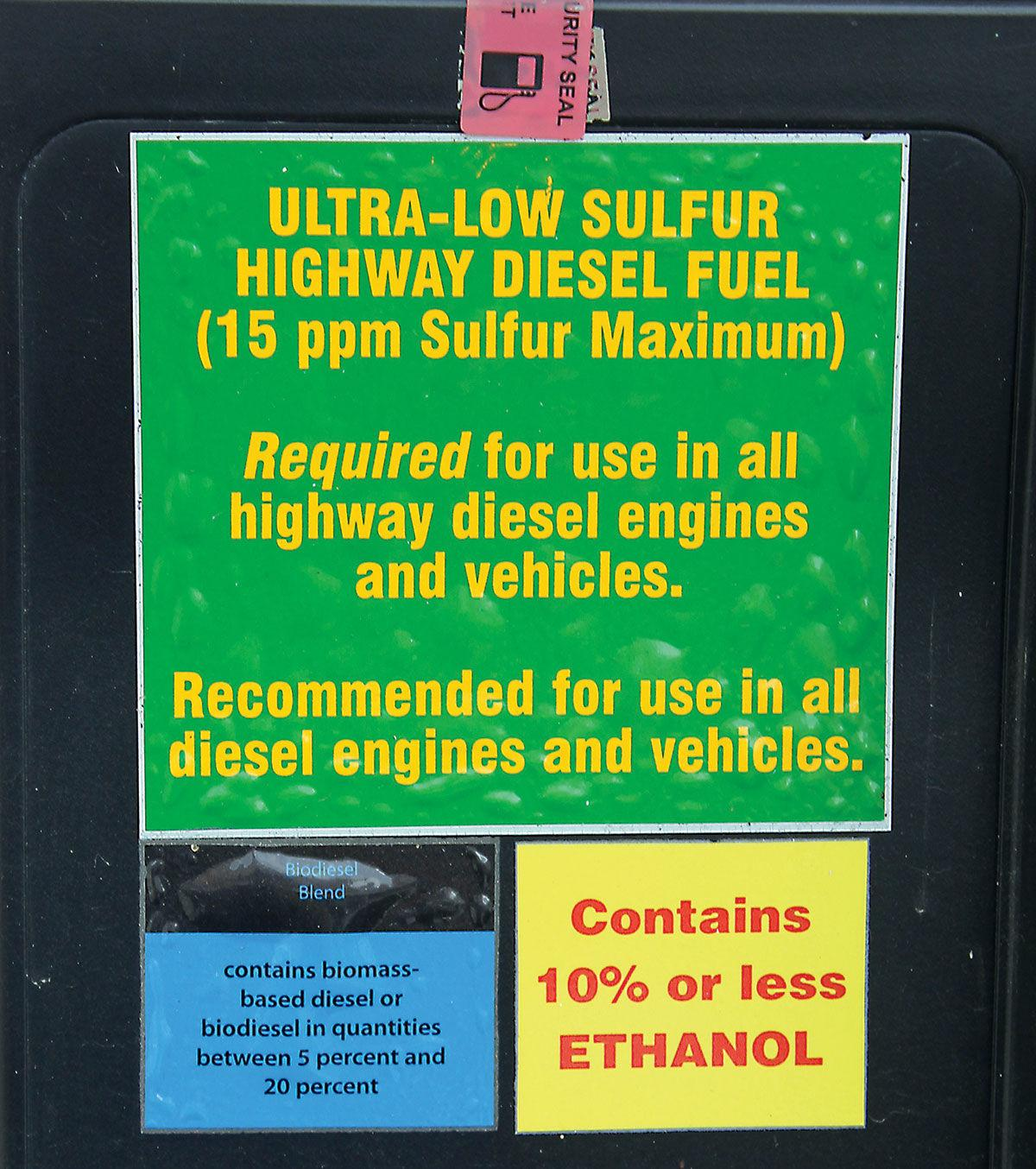 Gas pumps give information about fuel blends.