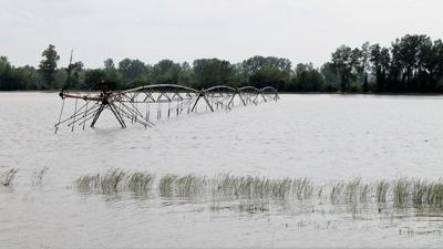 Flooded machinery in Missouri
