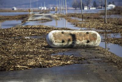 Tank sits in floodwater