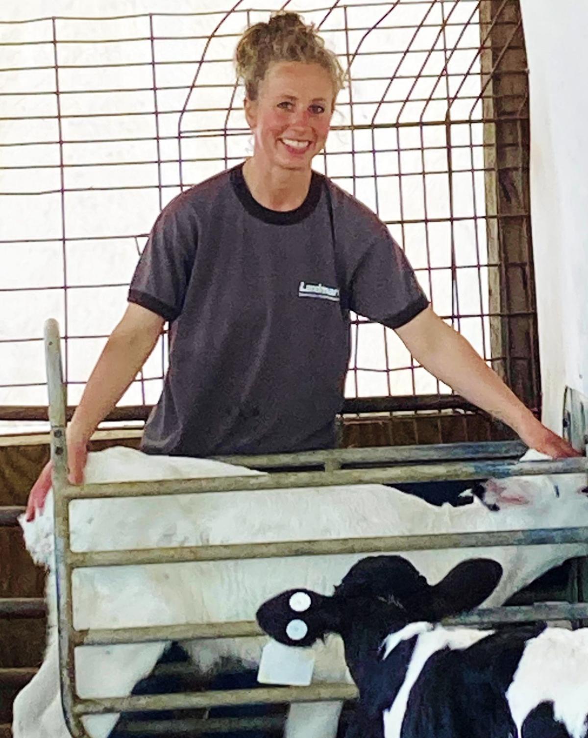 Sarah Sacker with calf
