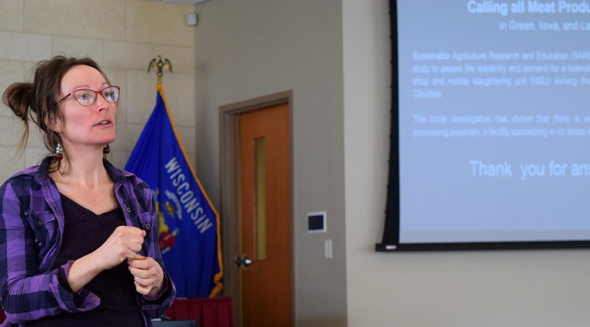 April Prusia speaking at focus group meeting
