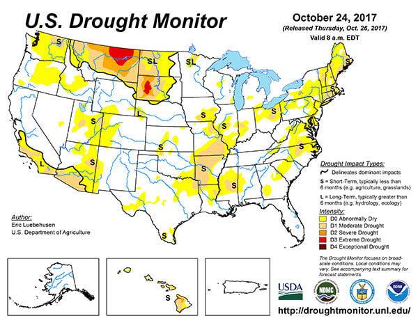 US Drought Monitor Map 102417 State Regional agupdatecom