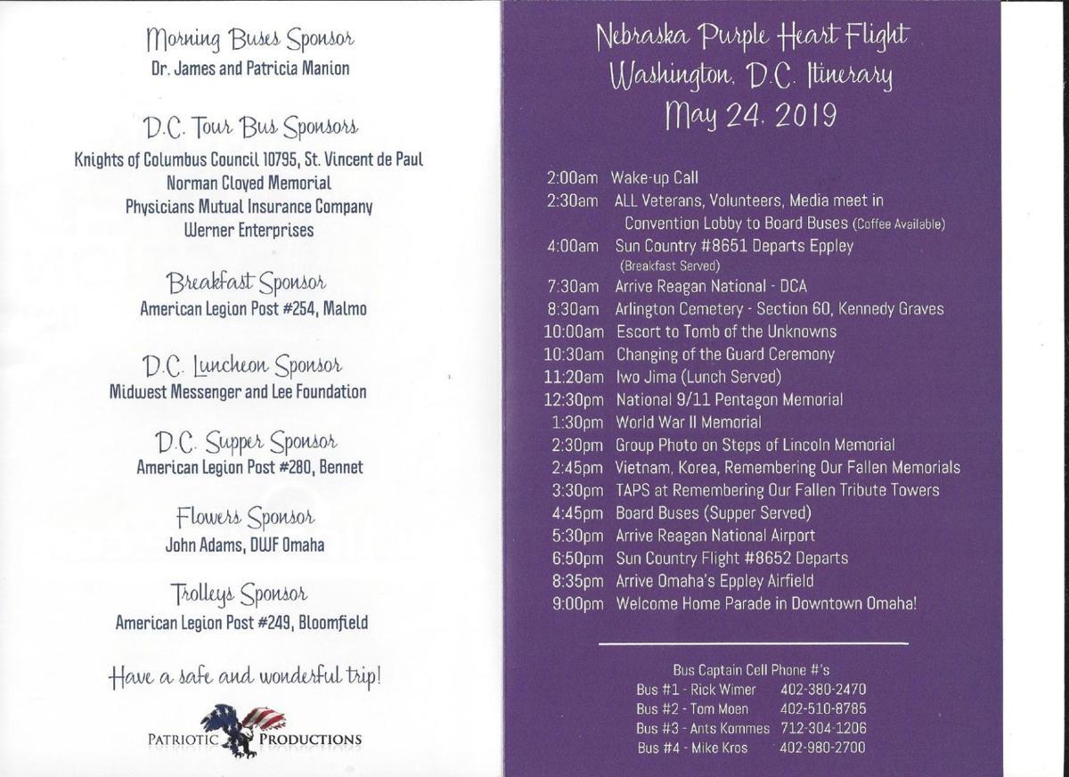 2019 Nebraska Purple Heart Flight Itinerary