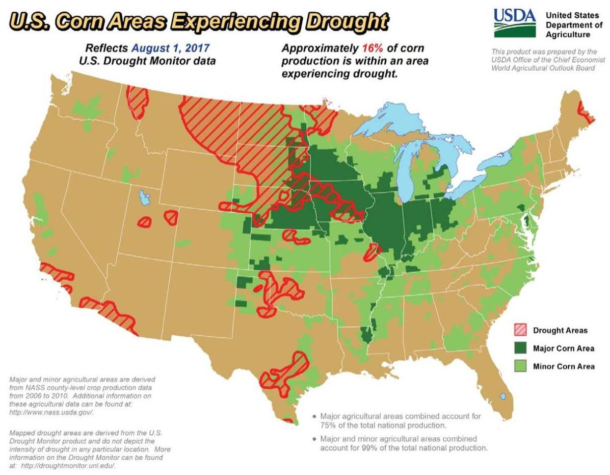 Drought Shifts Intensifies In Parts Of Corn Belt Agriculture And - Us-corn-belt-map