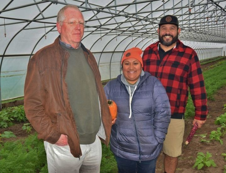 Bill Borgeld with the Natural Resources Conservation Service with Rosebud Schneider and Joe VanAlstine
