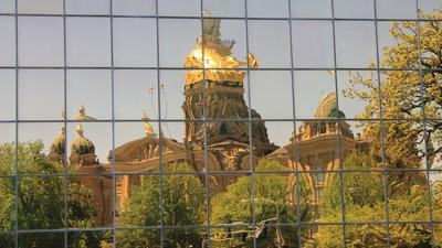 The Wallace Building reflects the state capitol in Des Moines