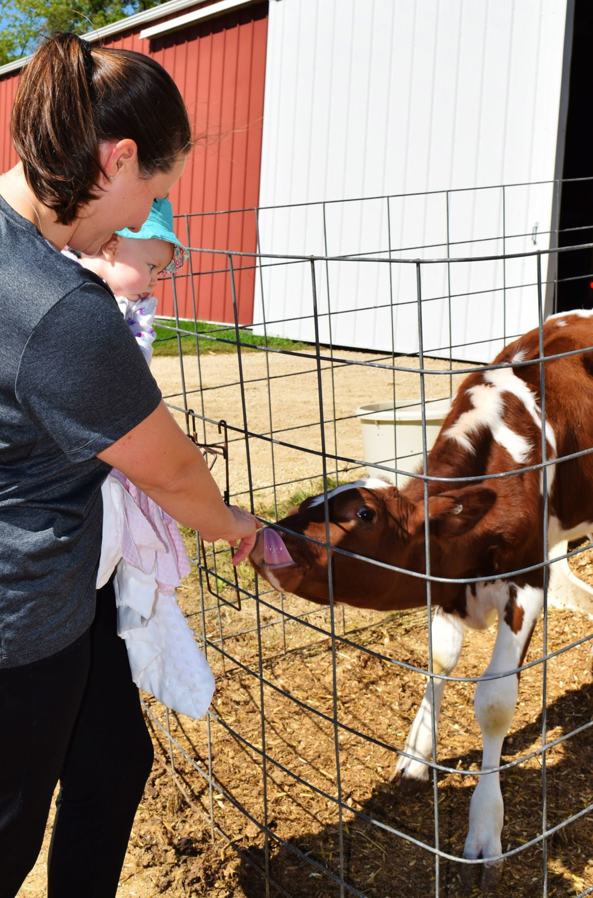 Brenda Gilbertson with her daughter, Janelle, and calf