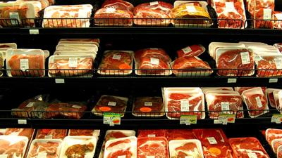 Meat in grocery display
