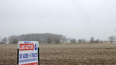 Land for sale sign at edge of field