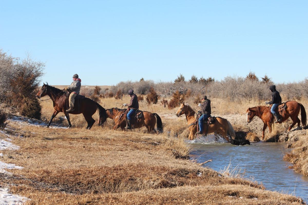 Crossing creek on horseback